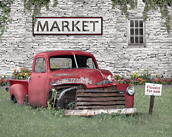 Lori Deiter LD2271 - LD2271 - Truck at Market - 16x12 Truck, Red Truck, Flowers, Flower Truck, Flowers for Sale, Market, Brick Wall, Photography from Penny Lane