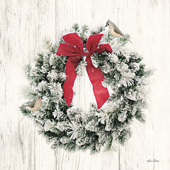 Lori Deiter LD2407 - LD2407 - Titmouse Christmas Wreath - 12x12 Holidays, Christmas, Wreath, Birds, Ribbon from Penny Lane