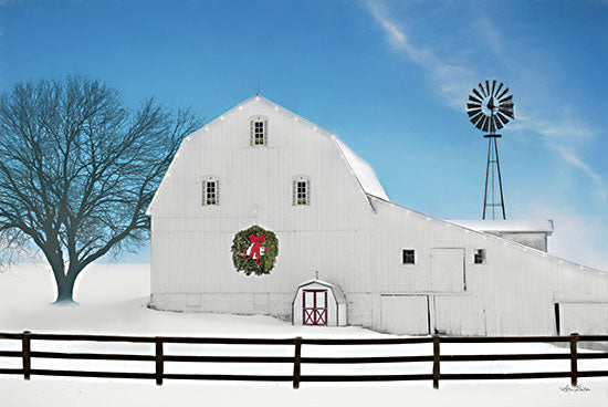 Lori Deiter LD2418 - LD2418 - Christmas Day - 18x12 Farm, Barn, Silo, Wreath, Winter, Tree, Photography from Penny Lane