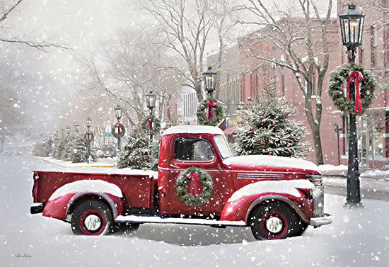 Lori Deiter LD2518 - LD2518 - Snowy Day in Wellsboro - 18x12 Truck, Red Truck, Wreath, Holidays, Christmas, Town, Winter, Photography from Penny Lane