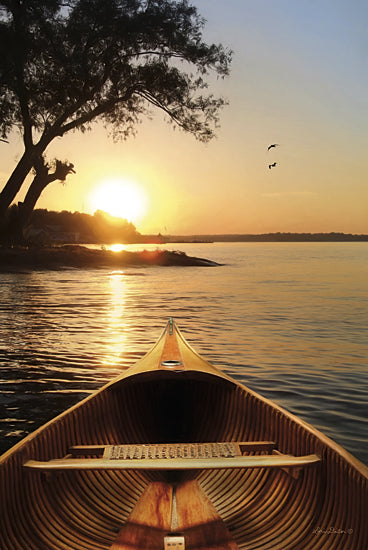 Lori Deiter LD766 - Sunset on the Lake I - Lake, Trees, Canoe, Sun from Penny Lane Publishing