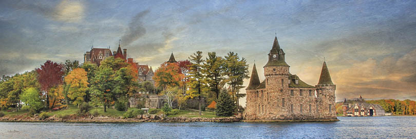 Lori Deiter LD804 - LD804 - Autumn at the Castle - 36x12 Castle, Autumn, Trees, River, Historical, Photography, Aristocrat from Penny Lane