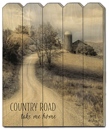 Lori Deiter LD855PF - Country Road Take Me Home - Country Road, Landscape, Farmlife, Pathway, Typography, Home, Photography, Wood Slat, Picket Fence, Silo from Penny Lane Publishing