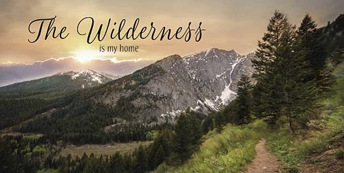 Lori Deiter LD916 - The Wilderness is My Home - Mountains, Path, Trees, Landscape, Inspirational, Photography, Trees, Sign from Penny Lane Publishing