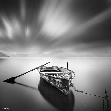Moises Levy LEV112 - Solitude III - Row Boat, Oars, Lake, Black & White from Penny Lane Publishing