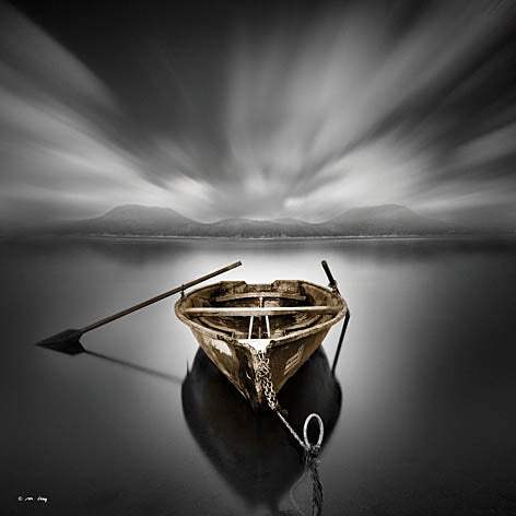 Moises Levy LEV113 - Solitude IV - Row Boat, Oars, Lake, Black & White from Penny Lane Publishing