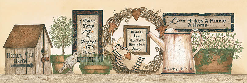 Linda Spivey LS1329 - LS1329 - Love Makes a Home - 36x12 Love Makes a Home,  Birdhouse, Watering Can, Plants, Still Life, Rustic from Penny Lane