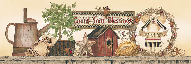 Linda Spivey LS1330 - LS1330 - Count Your Blessings - 36x12 Count Your Blessings, Still Life, Watering Can, Primitive, Vintage, Garden, Wreath, Birdhouse, Country from Penny Lane