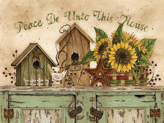 Linda Spivey LS1545A - Peace Be Unto This House - Sunflowers, Birdhouses, Peace, House, Berries from Penny Lane Publishing