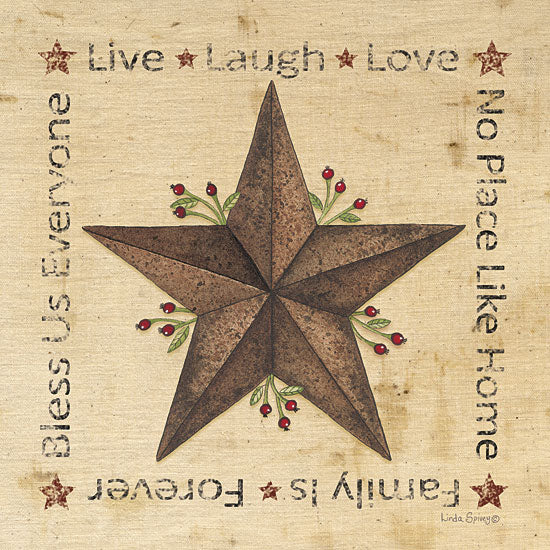 Linda Spivey LS1563 - Live, Laugh, Love Barn Star - Barn Star, Typography, Signs from Penny Lane Publishing