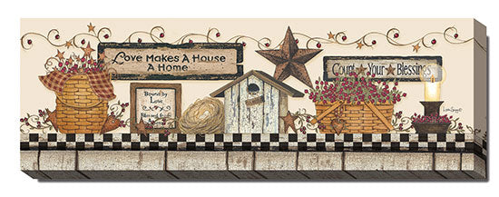 Linda Spivey LS1596 - Love Makes a House a Home - Berries, Baskets, Barn Star, Still Life, Folk Art, Sign, Floral from Penny Lane Publishing