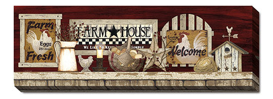 Linda Spivey LS1598 - Farm Rooster Shelf - Farmhouse, Birdhouse, Rooster, Still Life, Folk Art, Sign, Farm Life from Penny Lane Publishing