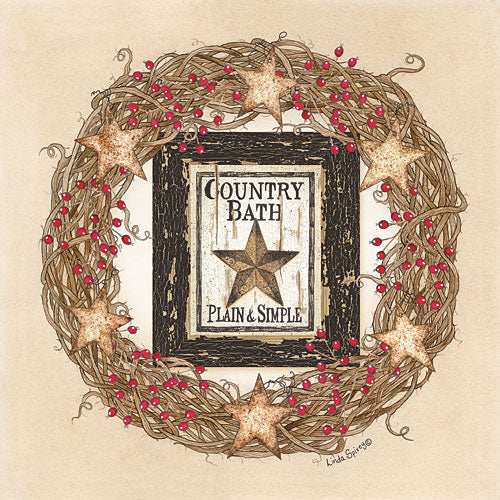 Linda Spivey LS1627 - Country Bath Wreath - Country, Wreath, Bath, Berries, Barnstar from Penny Lane Publishing