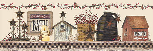 Linda Spivey LS1648 - Bath Still Life - Country, Berries, Barnstar, Birdhouse, Bath from Penny Lane Publishing