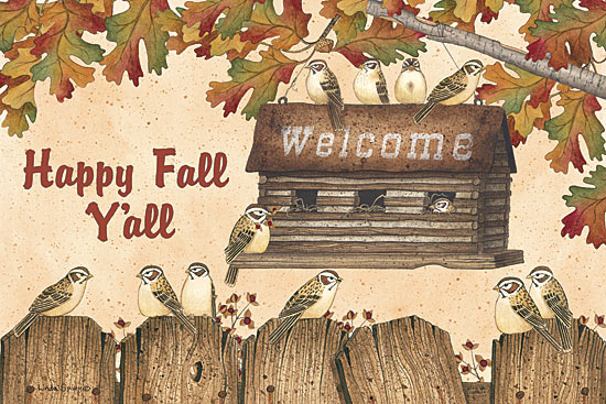 Linda Spivey LS1667 - Happy Fall Y'all - Birdhouse, Log Cabin, Birds, Autumn, Leaves, Signs from Penny Lane Publishing