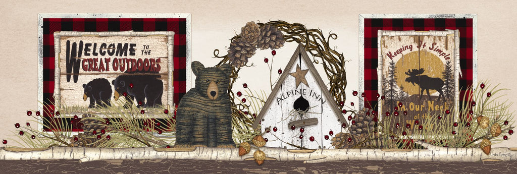 Linda Spivey LS1732A - LS1732A - Alpine Inn Shelf - 36x12 Welcome, Great Outdoors, Bear, Lodge, Grapevine Wreath, Birdhouse, Still Life, Shelf from Penny Lane