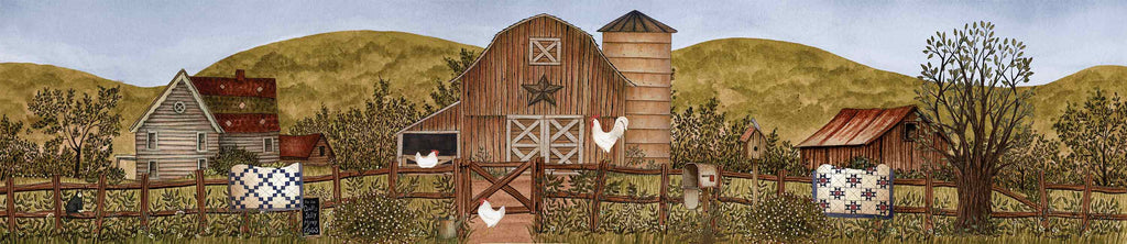 Linda Spivey LS1741A - LS1741A - Summertime Farm  - 36x12 Farm, Barn, House, Fence, Quilts, Roosters, Americana, Landscape from Penny Lane