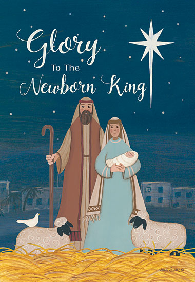 Linda Spivey LS1783 - LS1783 - Glory to the King - 12x16 Signs, Typography, Baby Jesus, Mary, Joseph, Sheep, Bird, North Star from Penny Lane
