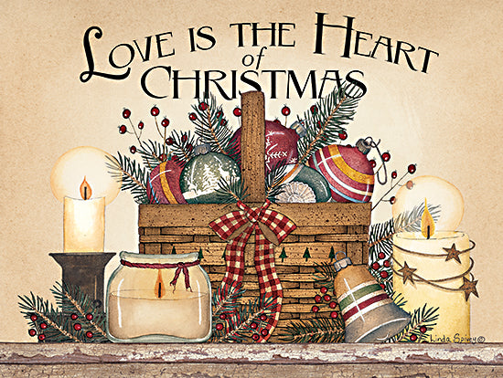Linda Spivey LS1819 - LS1819 - Love is the Heart of Christmas - 16x12 Love is the Heart of Christmas, Holidays, Basket, Candles, Ornaments, Country, Signs from Penny Lane