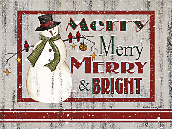 Linda Spivey LS1822 - LS1822 - Farmhouse Merry Merry - 16x12 Merry & Bright, Snowman, Winter, Holidays, Christmas from Penny Lane