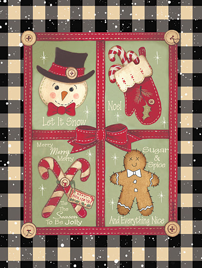 Linda Spivey LS1828 - LS1828 - Everything Nice - 12x16 Holidays, Christmas, Christmas Icons, Candy Canes, Snowman, Mitten, Gingerbread from Penny Lane