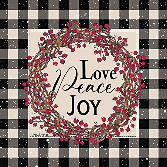 Linda Spivey LS1830 - LS1830 - Love Peace Joy with Berries - 12x12 Love, Peace, Joy, Wreath, Berries, Black & White Gingham, Border, Signs from Penny Lane