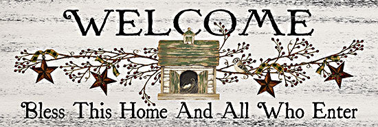 Linda Spivey LS1834A - LS1834A - Bless This Home and All Who Enter - 36x12 Welcome, Bless This Home and All Who Enter, Rusty Stars, Berries, Birdhouse, Country, Greeting from Penny Lane
