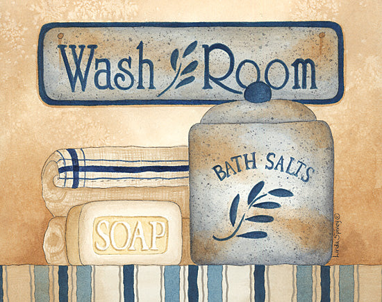 Linda Spivey LS723 - Wash Room - Blue, Crock, Wash, Bath, Soap from Penny Lane Publishing