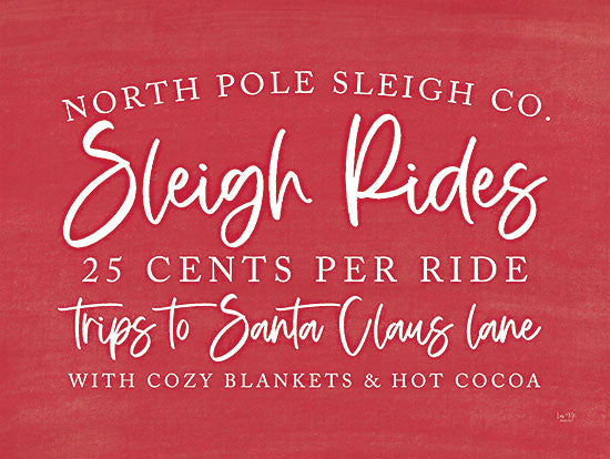 Lux + Me Designs LUX390 - LUX390 - Sleigh Rides - 18x12 Sleigh Rides, Holidays, Red and White, Signs from Penny Lane