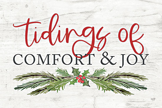 Lux + Me Designs LUX391 - LUX391 - Tidings of Comfort & Joy - 18x12 Tidings of Comfort & Joy, Holidays, Christmas, Holly and Berries, Calligraphy, Signs from Penny Lane