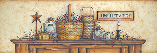 Mary Ann June MARY162 - Live Life Simply  - Baskets, Sign, Star, Berries, Still Life from Penny Lane Publishing