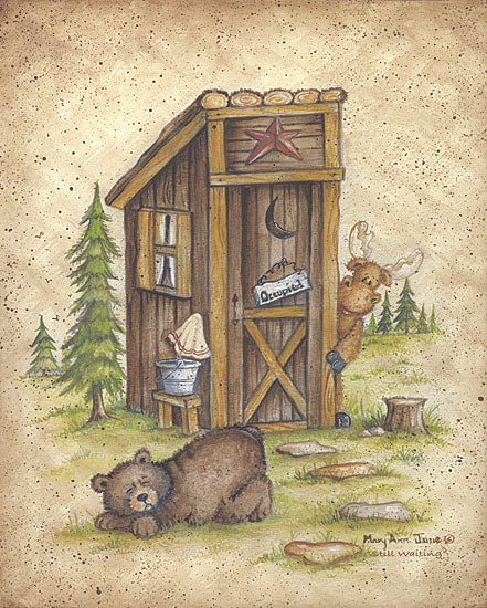 Mary Ann June MARY279 - Still Waiting - Outhouse, Bear, Moose, Bath from Penny Lane Publishing