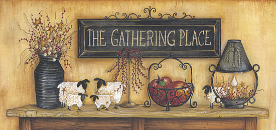 Mary Ann June MARY300 - The Gathering Place  - Gathering, Candle, Apples, Sheep, Berries from Penny Lane Publishing