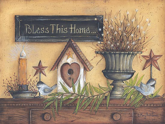 Mary Ann June MARY341 - Bless This Home - Vase, Candle, Greenery, Birdhouse from Penny Lane Publishing