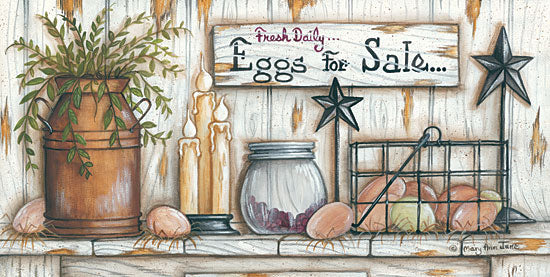 Mary Ann June MARY459 - Eggs for Sale - Eggs, Barn Stars, Greenery, Candles from Penny Lane Publishing