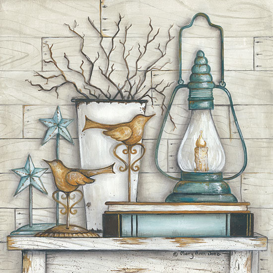 Mary Ann June MARY478 - Lantern on Books - Lantern, Books, Barn Star, Twigs from Penny Lane Publishing