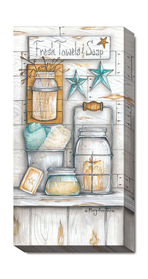 Mary Ann June MARY484 - Fresh Towels & Soap - Barn Star, Jar, Bath, Sign, Coastal, Still Life from Penny Lane Publishing