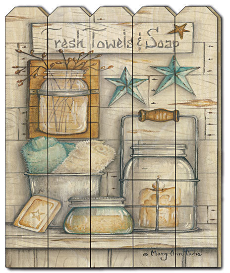 Mary Ann June MARY484PF - Fresh Towels & Soap - Primitive, Wood, Still Life, Barn Stars, Coastal, Fresh Towels, Soap, Vertical, Wood Slats, Country from Penny Lane Publishing