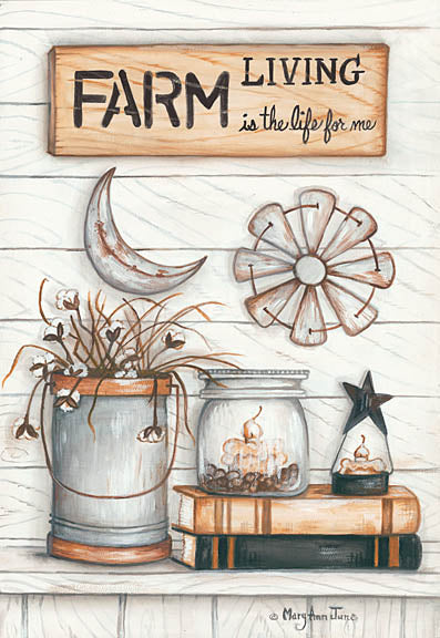 Mary Ann June MARY497 - Farm Living is the Life for Me - Farm, Windmill, Books, Candle, Galvanized Bucket from Penny Lane Publishing
