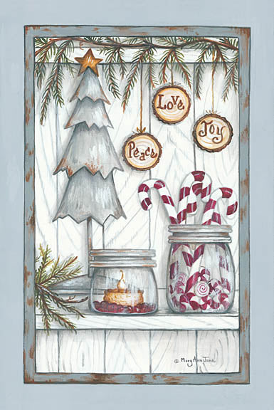 Mary Ann June MARY502 - Peace, Love, Joy - Holiday, Christmas Tree, Candy Canes, Jars, Candle, Signs from Penny Lane Publishing