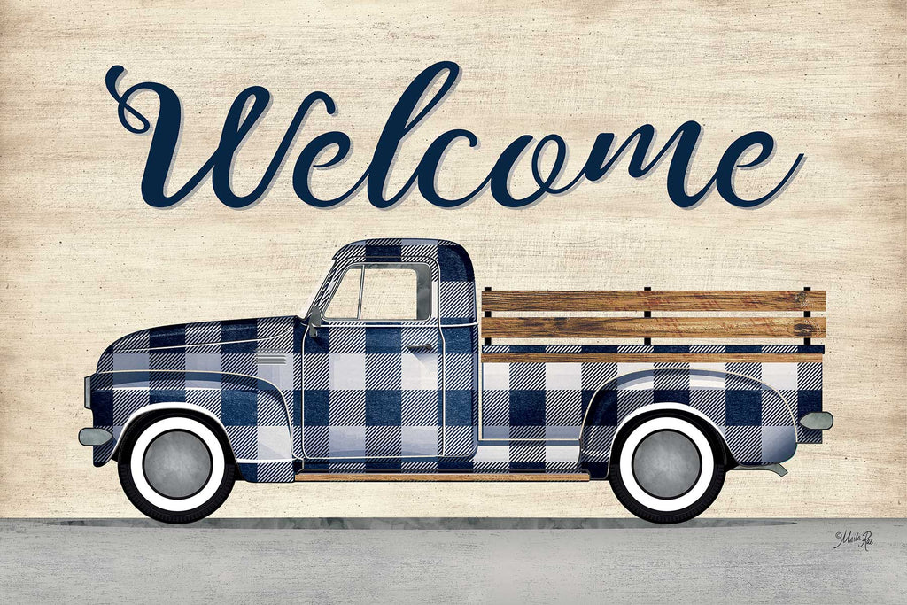 Marla Rae MAZ5591 - MAZ5591 - Welcome Truck - 18x12 Welcome, Truck, Blue and White Truck, Plaid, Greeting, Signs from Penny Lane