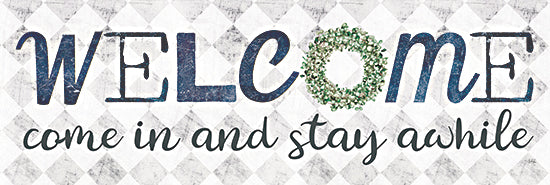 Marla Rae MAZ5692B - MAZ5692B - Welcome Come In - 36x12 Welcome, Stay Awhile, Eucalyptus, Wreath, Greenery, Signs from Penny Lane