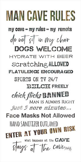 Marla Rae MAZ5750 - MAZ5750 - Man Cave Rules I - 12x24 Man Cave Rules, Rules, Masculine, Humorous, Signs from Penny Lane