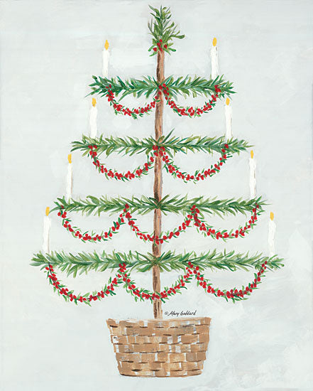 Mary Goddard MG133 - MG133 - Lit Christmas Tree - 12x16 Holidays, Christmas, Primitive, Christmas Tree, Candles, Rustic from Penny Lane