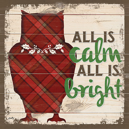 Misty Michelle MMD250 - All is Calm All is Bright Owl - Owl, Holiday, Signs, Plaid from Penny Lane Publishing