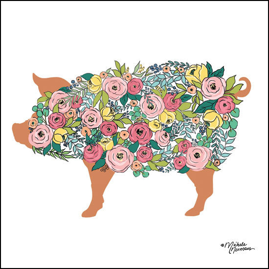 MN130 - Floral Pig - 12x12