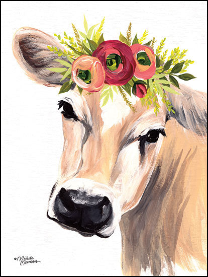 MN141 - Jersey Cow with Floral Crown - 12x16