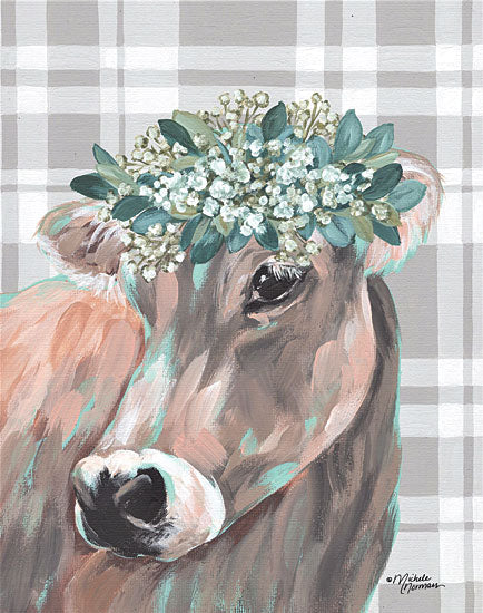 Michele Norman MN208 - MN208 - Henrietta   - 12x16 Henrietta, Cow, Floral Crown, Plaid from Penny Lane