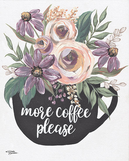 Michele Norman MN217 - MN217 - More Coffee Please - 12x16 Signs, Typography, Flowers, Coffee, Coffee Cup from Penny Lane