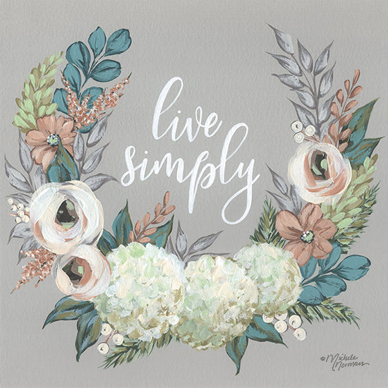 Michele Norman MN251 - MN251 - Live Simply    - 12x12 Live Simply, Flowers, Swag, Signs, Motivational from Penny Lane